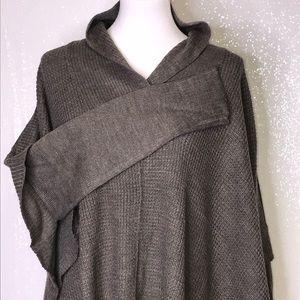 RETROD Gray Brown Waffle Sweater Poncho Size Large